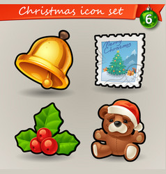 funny christmas icons-6 vector image vector image
