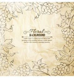 Grapes frame over old paper vector image vector image