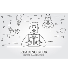 Man reading a book and imagining the story think l vector