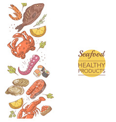 seafood healthy products restaurant menu template vector image vector image