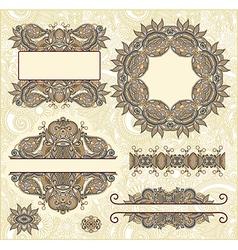 Set of vintage floral frame Element for design vector image