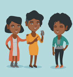 african-american friends looking at mobile phone vector image vector image