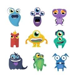 Cute monsters set in cartoon style vector image