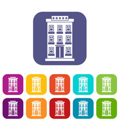 hotel building icons set vector image vector image