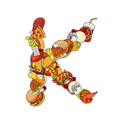 letter k food typography sign from products vector image vector image