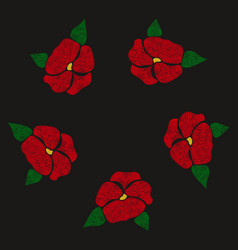 red flowers embroidered on a black background vector image vector image