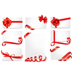 Set of gift cards with red gift bows with ribbons vector image