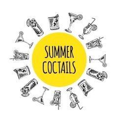 Summer coctails on white background vector image