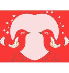 Valentines day card with birds and heart vector image vector image