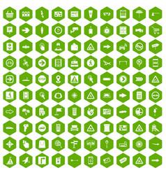 100 pointers icons hexagon green vector