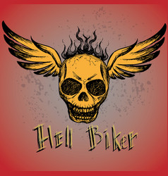biker emblem logo or tattoo vector image
