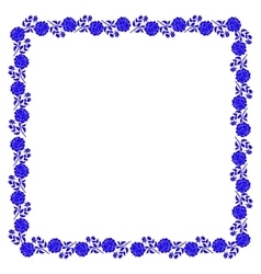Delicate frame with blue peony flowers isolated on vector image vector image