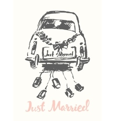 Drawn bride groom old fashioned car sketch vector image vector image