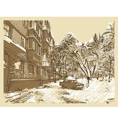 hand draw winter town landscape vector image vector image