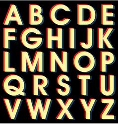 Light Alphabet on black background vector image vector image