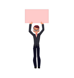 office worker with empty pink banner vector image vector image