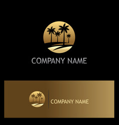 palm tree icon tropic gold logo vector image vector image