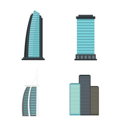sky tower icon set flat style vector image