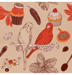 Sweet cupcakes parrots flowers vector image vector image