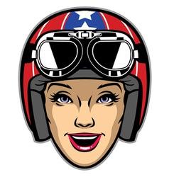 women rider wearing motorcycle helmet vector image vector image