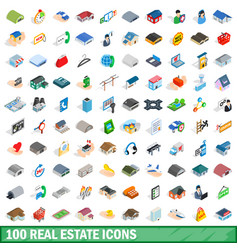 100 real estate icons set isometric 3d style vector image