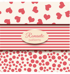 3 romantic seamless patterns pink and vector image