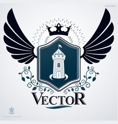 heraldic emblem made using graphic elements like vector image vector image