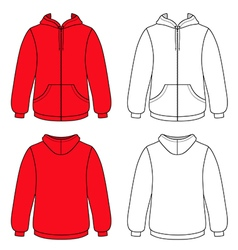 Hoodie sweater front back outlined view vector image vector image