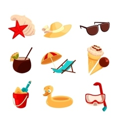 Set beach vacation objects vector image
