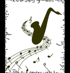 stylish template of saxophone on white background vector image vector image