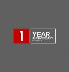 1 year anniversary in square with white and red vector