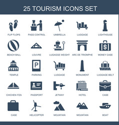 25 tourism icons vector
