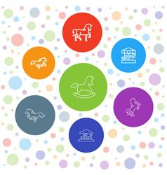 7 pony icons vector image