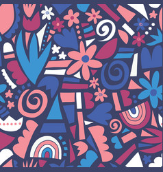 Abstract flower collage seamless pattern vector