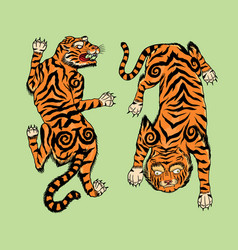 Asian japanese tiger wild animal for tattoo vector