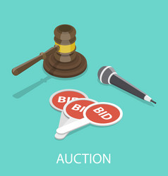 auction flat isometric concept vector image