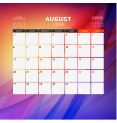 august 2018 calendar planner design template with vector image