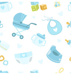 Baby boy shower seamless pattern newborn vector