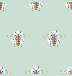Bee honeybee pattern insect hand drawn colorful vector