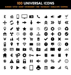 Big set 100 universal black flat icons vector