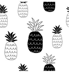 black and white pineapples seamless pattern vector image