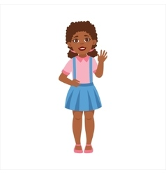 Black Teenage Girl Waving Part Of Growing Stages vector image