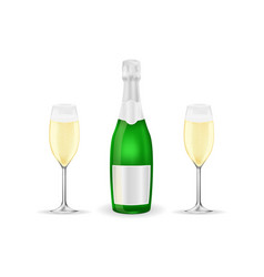 bottle and two glasses of sparkling wine or vector image