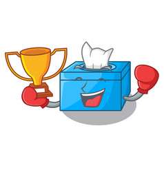 Boxing winner tissue box isolated on the mascot vector