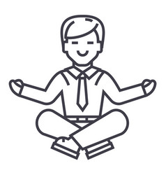 businessman meditation line icon sign vector image
