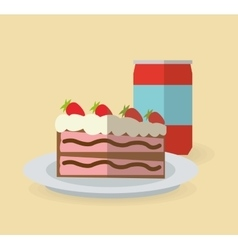 Cake and soda design vector