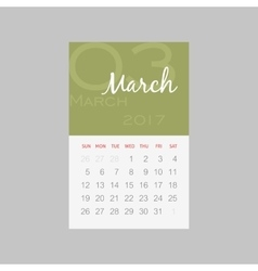 Calendar 2017 months March Week starts Sunday vector
