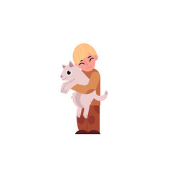 Cartoon boy teen kid hugging dog vector