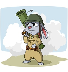 Cartoon bunny with bazooka vector