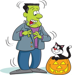 Cartoon Frankenstein with a Cat vector